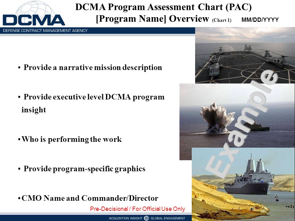 DCMA Program Assessment Chart (PAC) [Program Name] Overview (Chart 1)